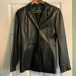 Vintage Danier Black Leather Blazer (used, size 4)